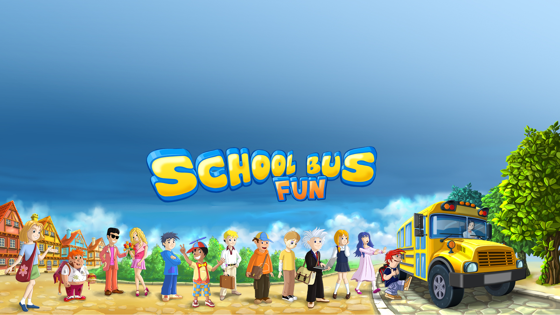 School Bus Fun Desktop Wallpaper 1920x1080